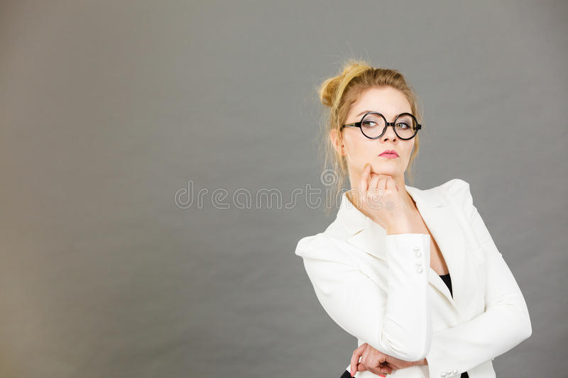 Business woman intensive thinking royalty free stock photos
