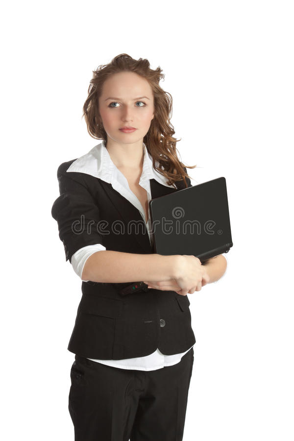 Business woman. Isolated over white background stock image