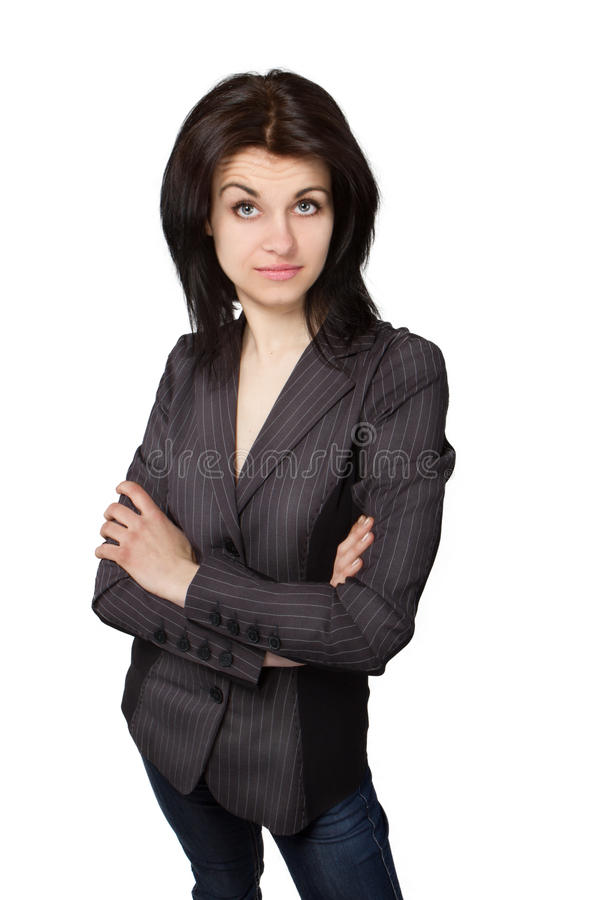 Surprised bussines woman face royalty free stock image