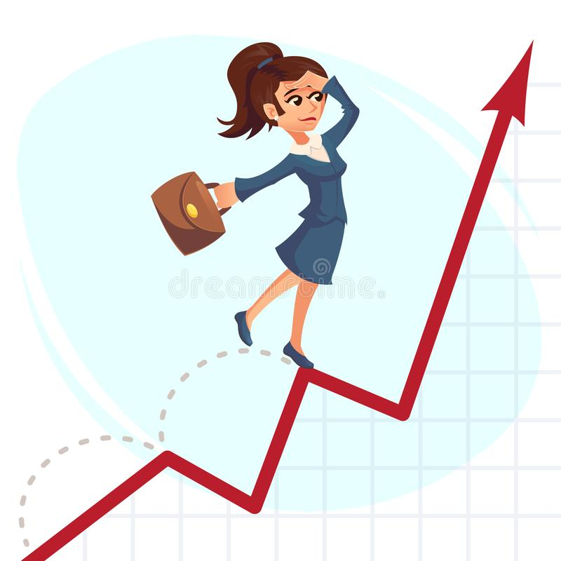 Business woman jump over growing chart Business success concept. Vector creative cartoon illustrations.  royalty free illustration