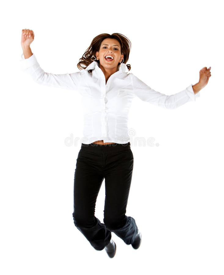 Download Business woman jumping stock image. Image of joyful, person - 15652933