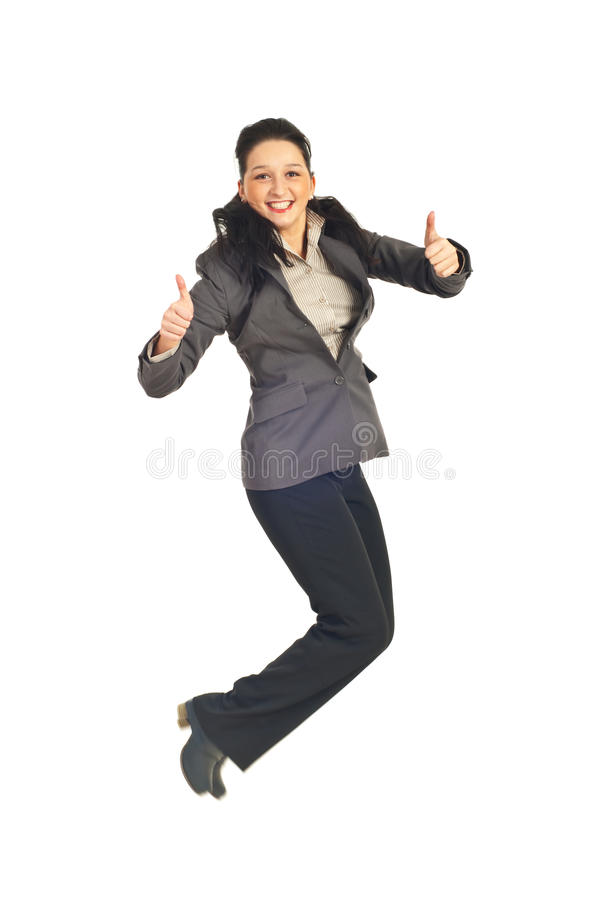 Download Business Woman Jumping And Gives Thumbs Stock Image - Image: 17919975