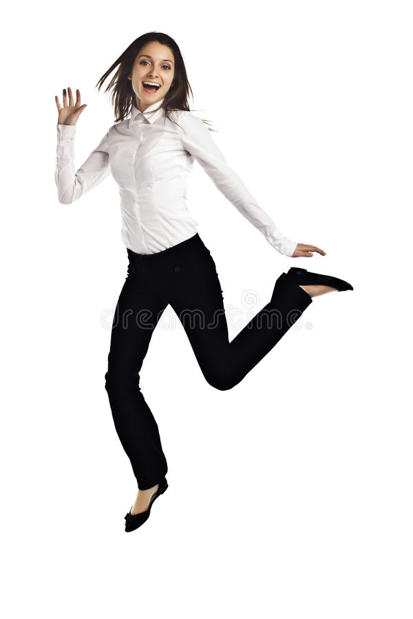 Download Business Woman Jumping For Joy On White Stock Photo - Image: 23504100