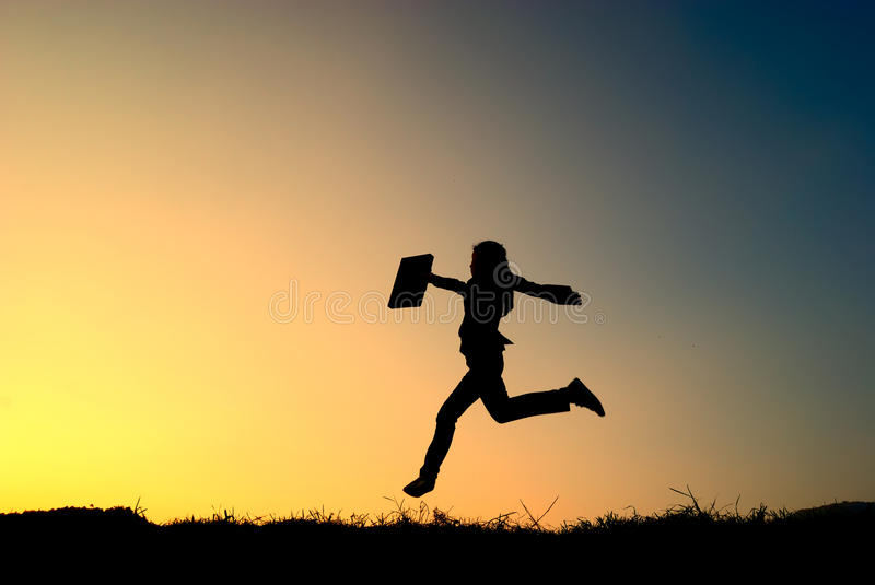 Download Business Woman Jumping And Sunset Silhouette Royalty Free Stock Image - Image: 24667286