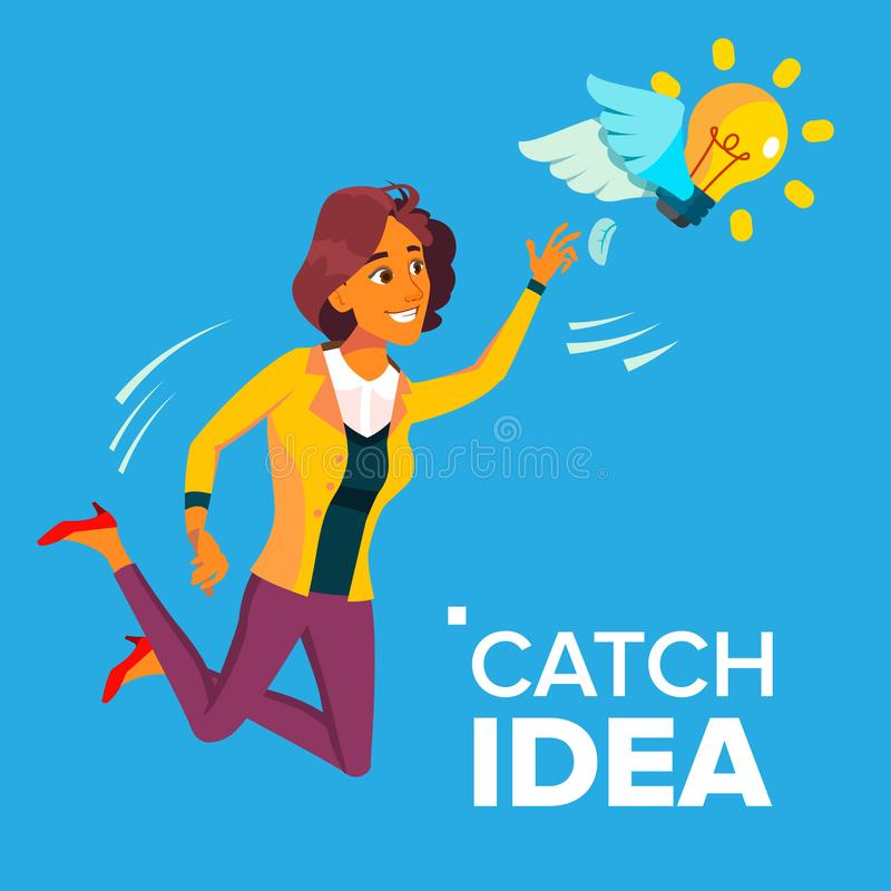 Business Woman Jumps And Tries To Catch Idea Vector, Yellow Light Bulb Flying On Wings. Illustration. Business Woman Jumps And Tries To Catch Idea Vector, Yellow stock illustration