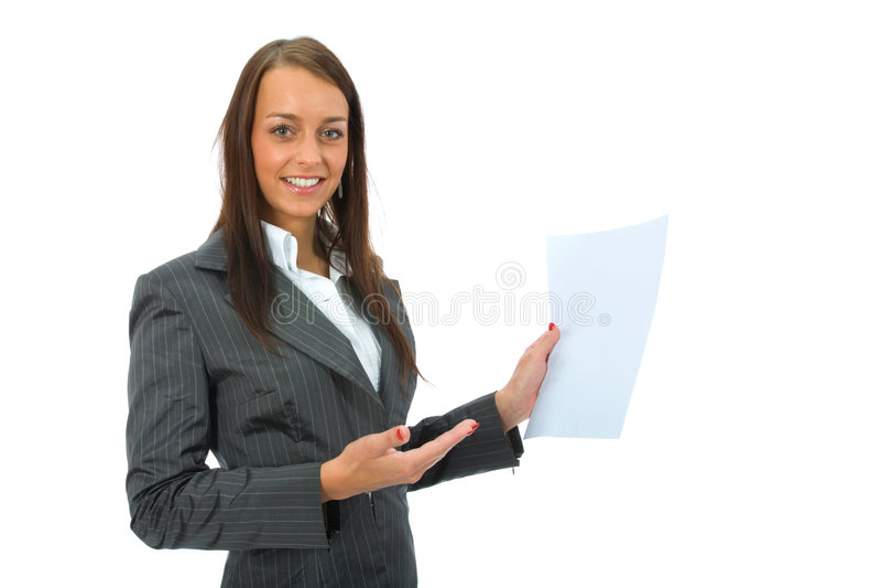 Business Woman Keeps Sheet Royalty Free Stock Photos