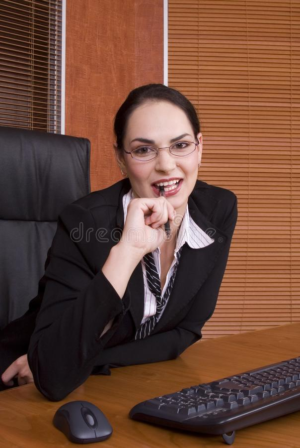 Business woman keyboard pen royalty free stock images