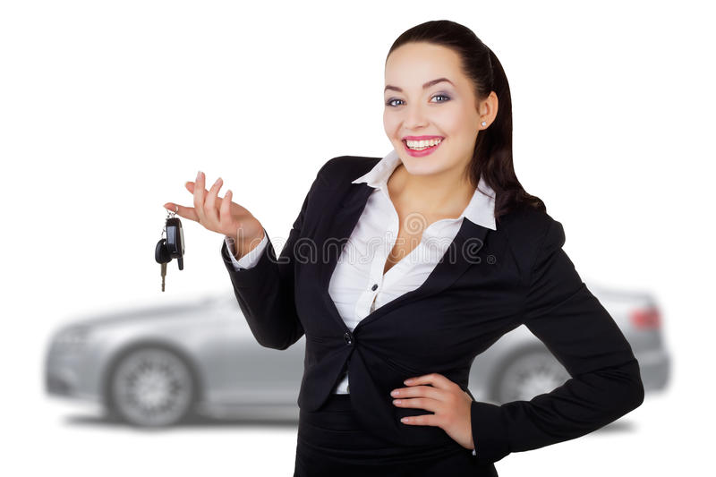 Business woman with the keys stock image