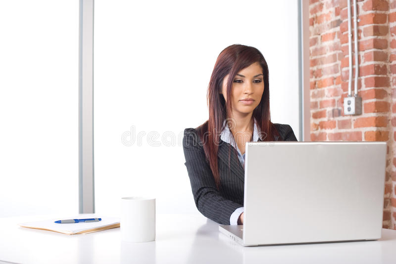 Business woman laptop royalty free stock images