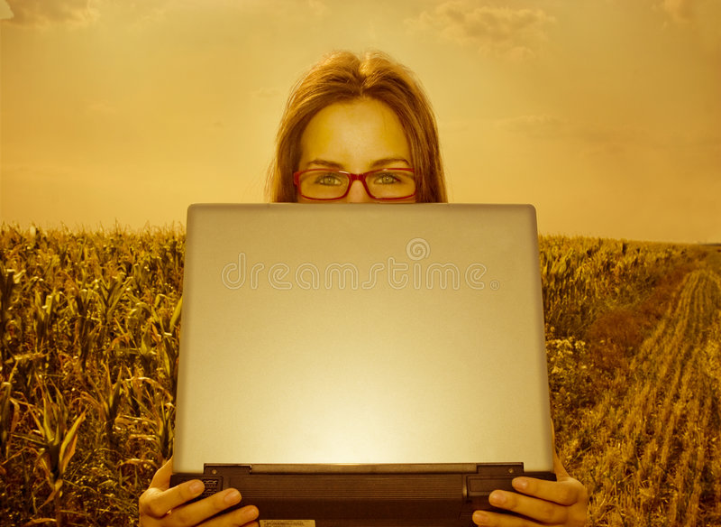 Business woman with laptop in a field royalty free stock photos
