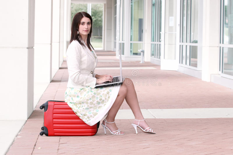Download Business Woman With Laptop On The Go, Traveling Stock Image - Image: 10692905