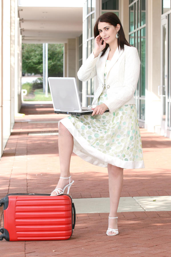 Download Business Woman With Laptop On The Go, Traveling Stock Image - Image: 10692915