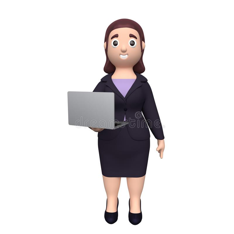 Business woman with laptop. 3d rendering stock illustration