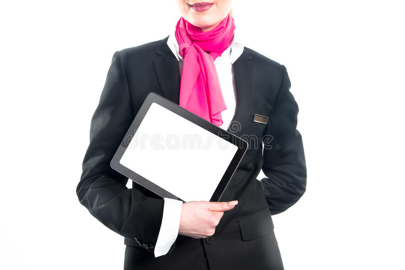 Business woman with laptop isolated on white background stock images