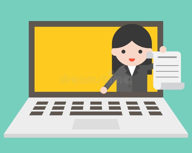 Business woman in laptop screen sending document, online working stock illustration