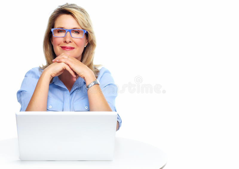 Business woman with laptop. Senior business woman. Isolated over white background stock image