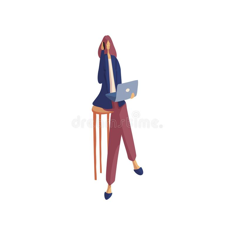 Business woman with a laptop talking on a cell phone. Vector illustration. vector illustration