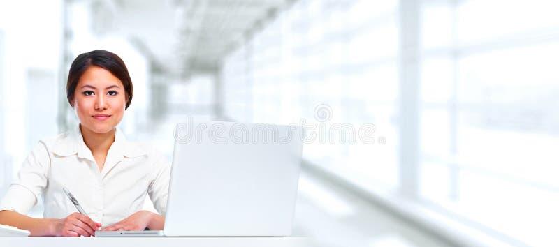 Business woman with laptop. stock photos