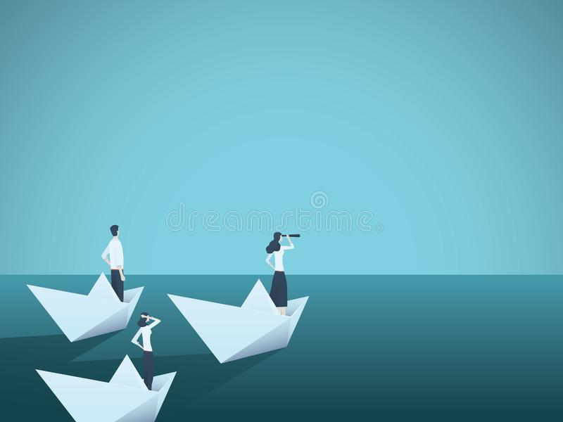 Business woman leader vector concept with businesswoman in paper boat leading team. Symbol of equality, woman power. Leadership, vision. Eps10 vector stock illustration