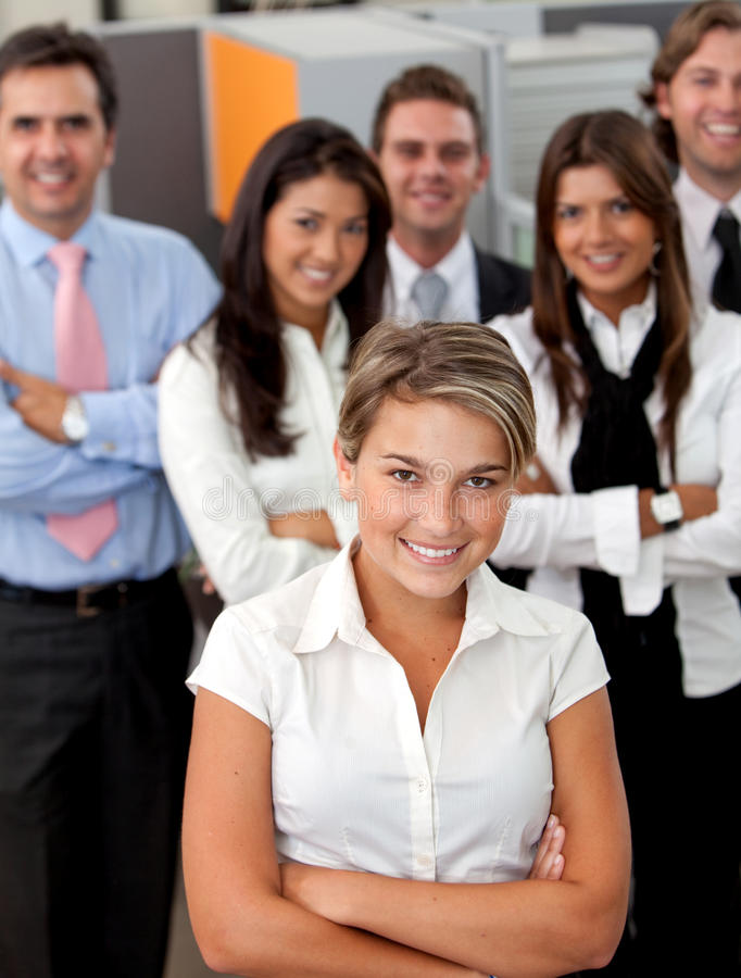 Download Business Woman Leading A Team Stock Image - Image: 13807177