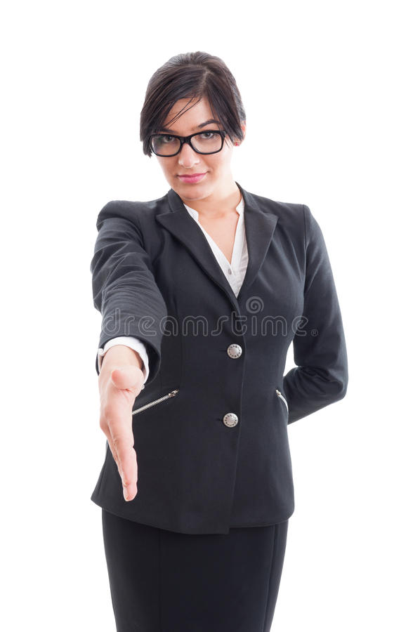 Business woman leaning for hand shake stock photo
