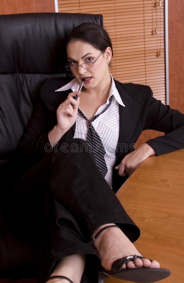 Download Business Woman Legs On Desk Stock Image - Image: 1895165