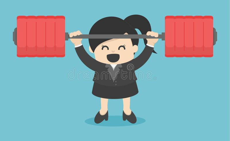 business woman lifting a heavy Power human. Man holding a dumbbe stock illustration