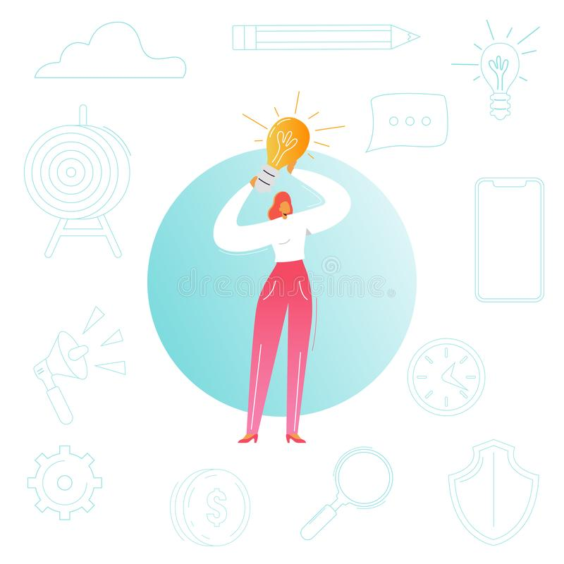 Business Woman with Light Bulb. Creative Idea, Innovation, Brainstorming Concept. Female Character Leadership, Startup. Project. Vector illustration stock illustration
