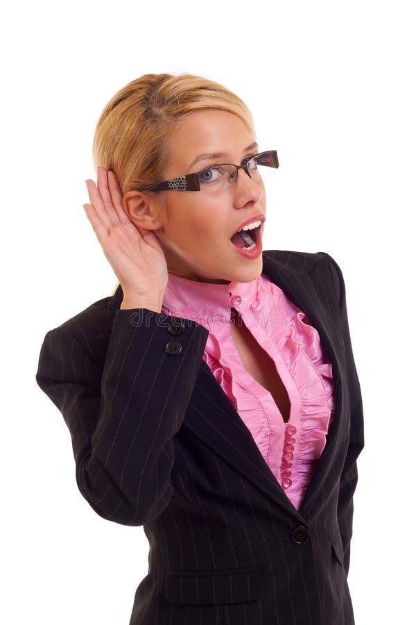 Business woman listening stock image