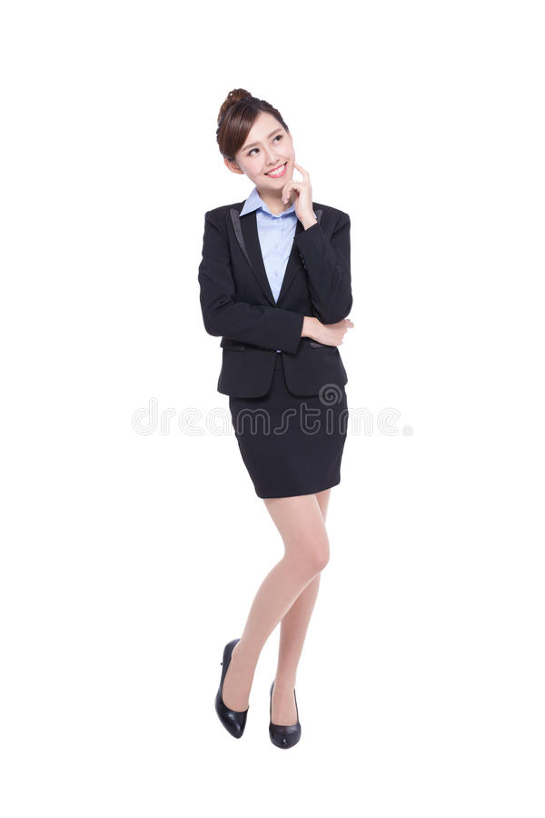 Business woman look and think royalty free stock photography