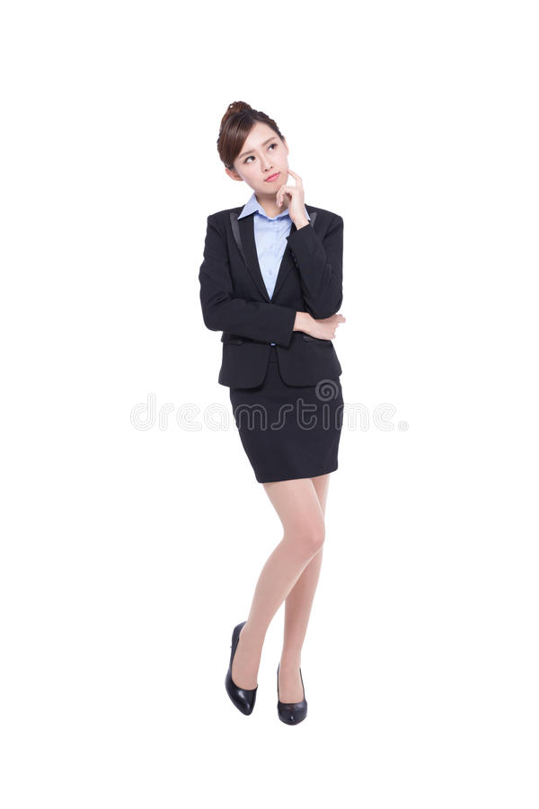 Business woman look and think stock photography