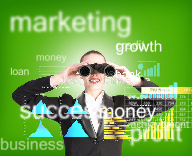Business woman looking through binoculars. Concept search solutions in business stock image