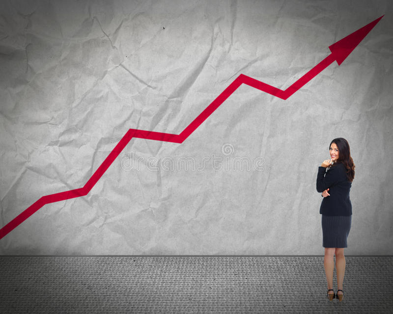 Business woman looking chart. royalty free stock photo