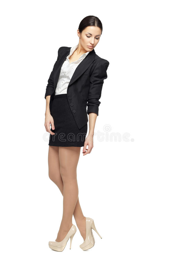 Business woman looking down royalty free stock image