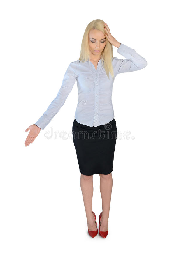 Business woman looking down. Isolated business woman looking down stock photo