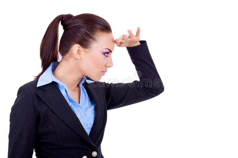 Business woman looking forward stock image