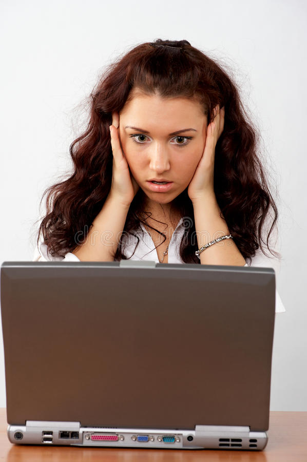 Download Business Woman Looking Surprised To The Screen Stock Image - Image: 19017105