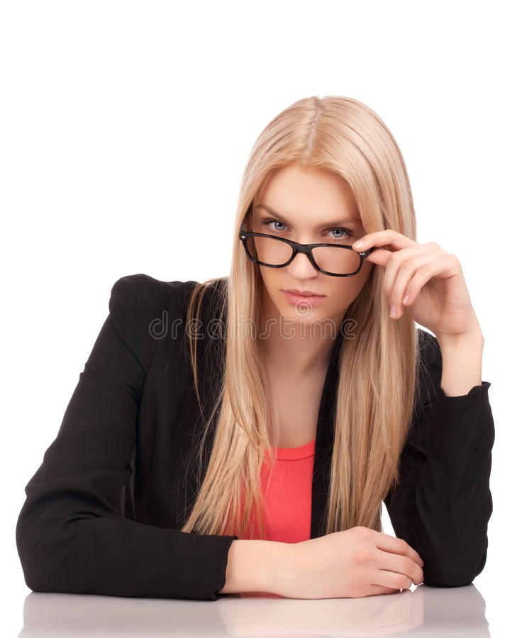 Download Business Woman Looking At You Over Glasses Stock Photo - Image of young, attractive: 29086394