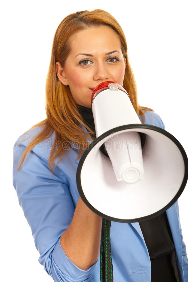 Download Business Woman With Loudspeaker Stock Image - Image of formalwear, hold: 28313701