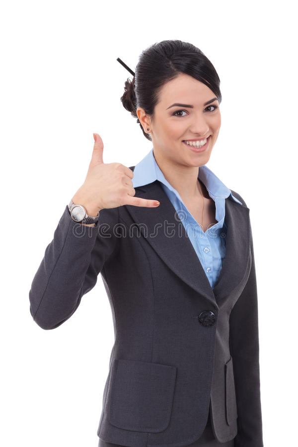 Business woman making a call me gesture royalty free stock photos