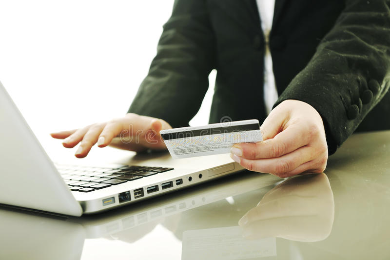 Business woman making online money transaction stock images