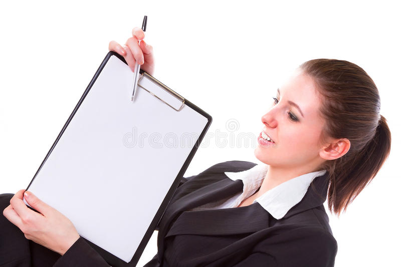 Business Woman Making Presentation On The Board Royalty Free Stock Image
