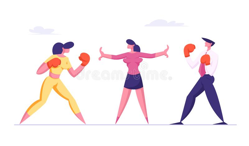 Business Woman and Man in Boxing Gloves Prepare to Fight Waiting Referee Give Start. Business Competition Challenge vector illustration
