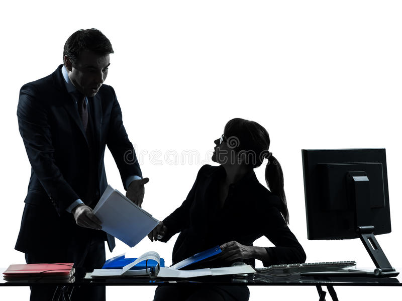 Business woman man couple dispute conflict silhouette royalty free stock photo