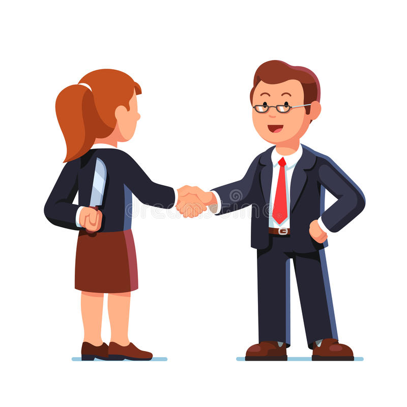 Business woman and man shaking hands. Betrayal. Business woman and man standing together and shaking each other hands while one holding knife behind back vector illustration