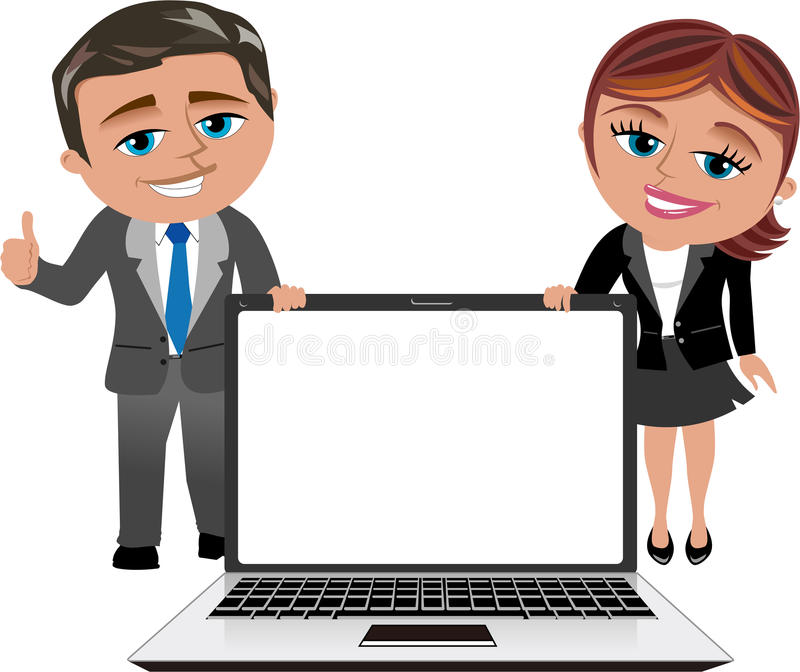 Business Woman and Man Showing Laptop. Illustration featuring smiling cartoon business woman Meg and business man Bob with thumb up showing blank display of a stock illustration