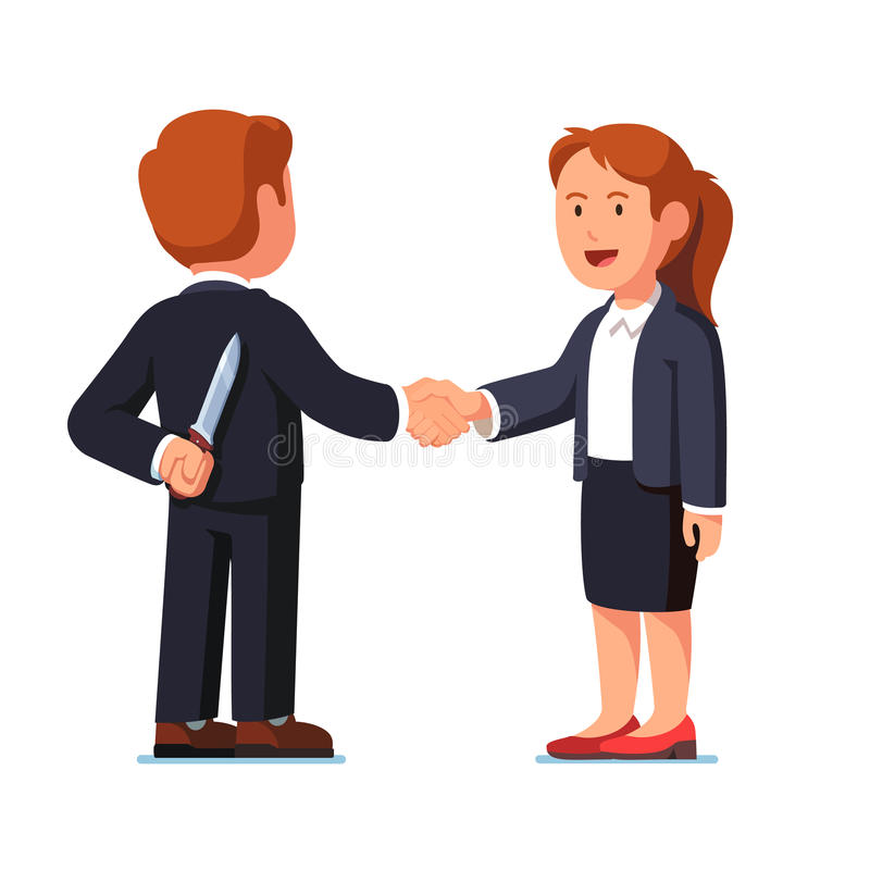 Business woman and man standing shaking hands. Business woman and man standing together shaking hands. Businessman holding knife behind his back. Treacherous royalty free illustration