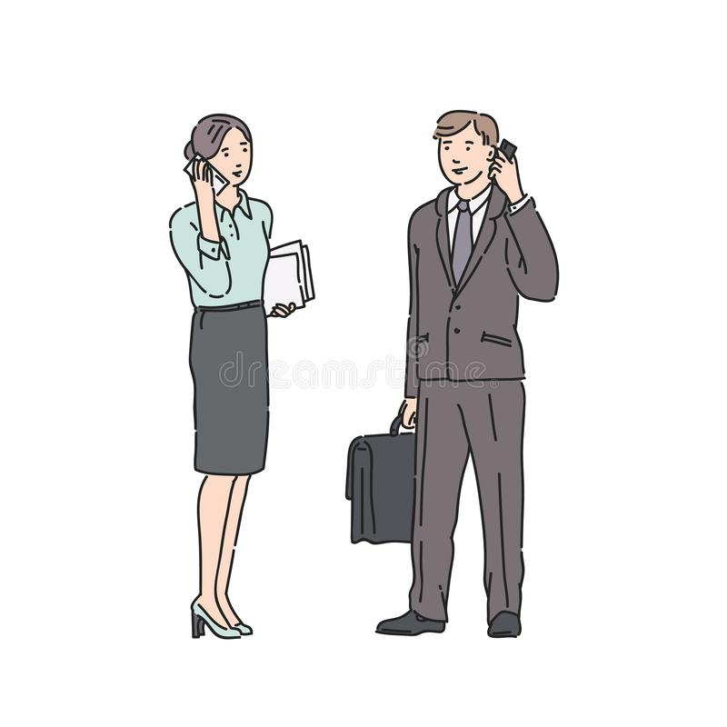 Business woman and man in strict suit talking on phone. Vector illustration in line art style isolated on white. Background vector illustration
