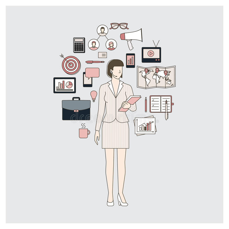 Business woman and marketing expert. With working tools, thin line objects in a circle vector illustration