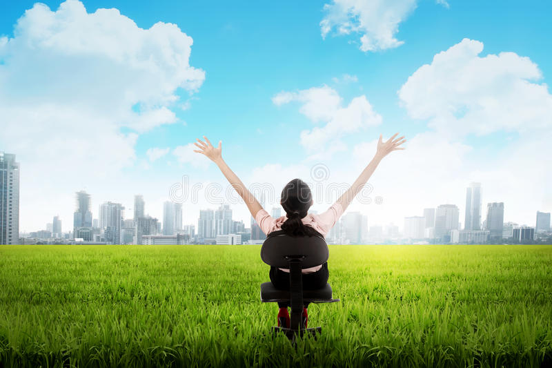 Business woman on the meadow stock images